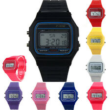 Boys Girls Sport Watches Silicone Rubber Strap Square Dial Vintage Digital Watch