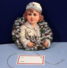 Young Girl in A Wreath - Vintage Hand Glittered Ornament by Marian Heath