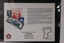 Wespnex 1976 Thomas Jefferson coin stamp show club reprint Souvenir page card