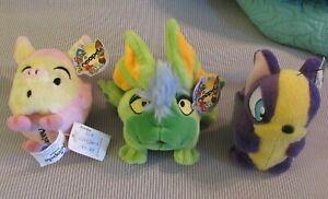 3 Rare Neopets Petpets Plush Plushies Snorkle Mortog & Mazzew NWT 3-4 Inches