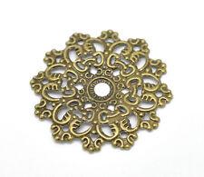 30 Pop Bronze Tone Filigree Flower Wraps Connectors 4.7x4.7cm