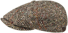 Stetson Bakerboy Cap Hat Hatteras Herringbone Beige 347 Virgin Wool New