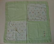 Stacy Claire Boyd Patchwork Green Baby Blanket Boy Girl 100% Cotton Animals