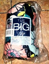 The Big One Oversized 5ft x 6ft Plush Throw Supersoft Blue w/ Flowers Blanket