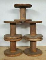 Lot of 5 old Wooden spools Sewing textile factory  Farmhouse Decor