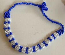 Blue & White Flower Beaded Bracelet