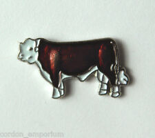 RED HEREFORD CATTLE COW LAPEL PIN 3/4 INCH