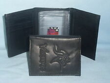 Minnesota Vikings Leather Trifold Wallet Black 3 SB d20286244
