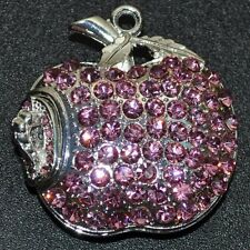 CHIAVETTA USB 4 GB MELA VERME ROSA ROSA ARGENTO-Colorate Strass Gioielli Apple OH bruco