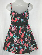 JANE NORMAN (UK10 / EU38) BLACK FLORAL LINED SHORT DRESS WITH BACK BELT