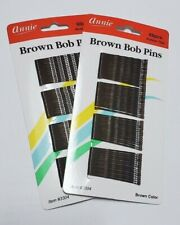 Annie Two Packs of 60 Bob Pins, Brown (2'')