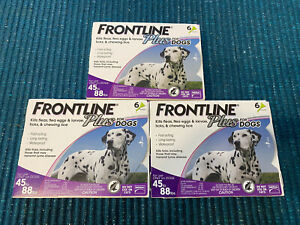 LOT OF 3 - Frontline Plus for Dogs 45-88 lbs - purple 6 MONTH/6 DOSES ~ SEALED