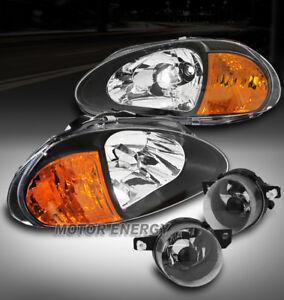 FOR 93 94 95 HONDA DEL SOL BLACK HEADLIGHT+AMBER CORNER SIGNAL +BUMPER FOG LAMP