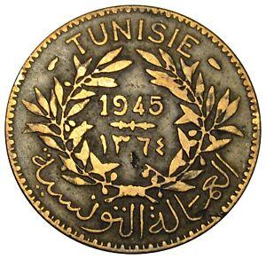 Tunisia 2 Francs coin AH 1364 - 1945 Y#248