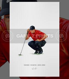 Tiger Woods 2019 Masters Augusta Georgia Illustrated Print Poster Art