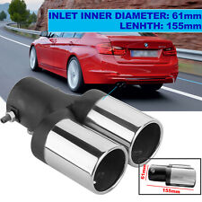 Auto Universal Auspuff Blende Doppelendrohr Rohr Edelstahl Endrohre Pipe 61mm