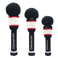 1 3 5 Set Vintage Pom Pom Head Covers Knit Sock Golf Wood Club Retro Headcovers