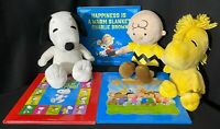 Peanuts Kohl's Cares Woodstock Charlie Brown Snoopy Plush & 3 Hardcover Books