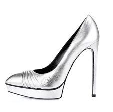 YSL Saint Laurent Metallic Silver 'Janis ' Platform Pump Heels Size 39 EU 2584