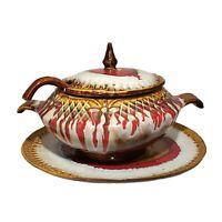 Vintage MCM Marcia California Pottery Soup Tureen Ladle Brown Lava Drip Glaze LG
