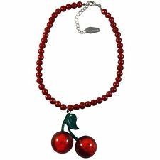 Skull Cherry Necklace Pendant Womens Red Beaded Horror Gothic Goth Acrylic Gift