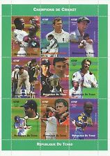 2002 TCHAD CHAMPIONS OF CRICKET SHANE WARNE ADAM GILCHRIST MNH STAMP SHEETLET