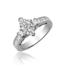 18k White Gold Marquise Cut 2.00 Carat GIA Certified Diamond Engagement Ring