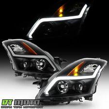 For 2007-2008 Altime Sedan Black Smoke LED Tube Projector Headlights Headlamps