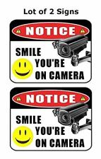 """2 Count """"Notice Smile Your on Camera"""" 9 inch x 11.5 inch Laminated Funny Sign"""