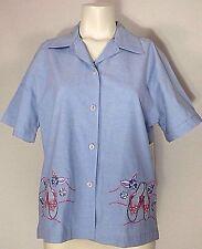 Jane Ashley Womens Shirt Small Blue Chambray Embellished Top Flip Flop Beading