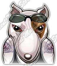 "Bull Terrier Tattoo Street Fighter Gift Car Bumper Vinyl Sticker Decal 4""X5"""
