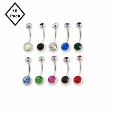 Double Gem Belly Button Rings Jewelry Surgical Steel CZ Gems 14G 10pc