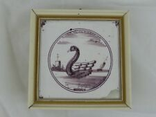Old Tile Delft Tile Swan Manganese Painting - from Estate Motif 171