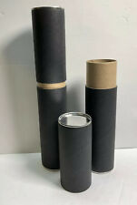 Pack Of 4 Black Tube Packaging ~ Metal & cardboard Two Part packaging 12in x 2in