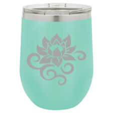 Stemless Wine Tumbler Coffee Travel Mug Glass Insulated Lotus Flower Scroll