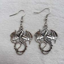 Women Beautiful Retro silver silver Dragon earrings, Handmade earrings