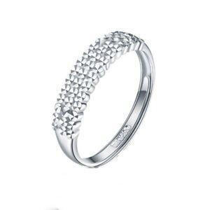 Pt950 Platinum Woman Ring Luck Diamond-cut Full Star Ring Adjustable 2.6-2.9g