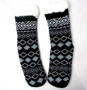 "House Slipper Socks Charter Club Women's "" Printed "" Black Size S/M"
