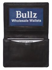 Genuine leather slim credit card ID holder mens and womens wallet Black