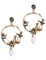 Multi Glass Crystal Ear Drop Dangle Stud Ancient Gold long Tassels Earrings