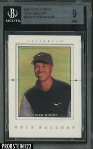 2001 Upper Deck Golf Gallery #GG4 Tiger Woods RC Rookie BGS 9 MINT