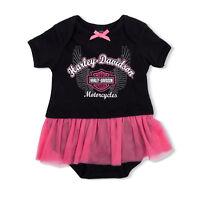 Harley Davidson Infant Newborn Baby Girl Black Leotard With Pink Tutu Skirt