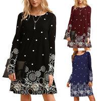 Women's Casual Long Sleeve Sundress Floral Print O-Neck Loose Mini A Line Dress
