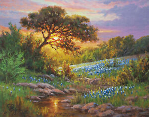 sunset sky oak tree bluebonnet oil painting nature Texas hill country Hagerman