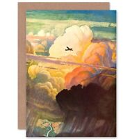 Painting Sky Clouds Aeroplane Flight 1938 Blank Greeting Card With Envelope