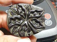 Vintage Carved Black Bakelite Floral Belt Buckle