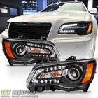 Black Factory Style 2011-2014 Chrysler 300 Halogen LED DRL Headlights Headlamps  for sale