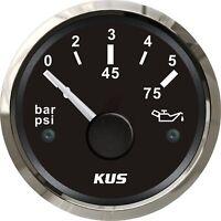 KUS Boat Outboard Oil Pressure Gauge for Marine Yacht Engine 12/24V 0-5 Bar 52mm