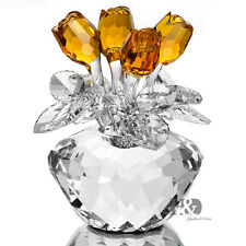 H&D Handmade Yellow Crystal Rose Figurine Glass Xmas Wedding Gift Ornaments 4.5""