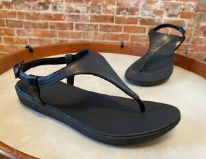 FitFlop Black Lainey Slingback Toe Post Sandal 8 39 New Thong